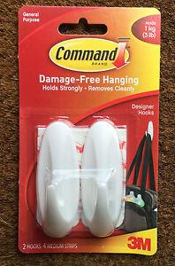 COMMAND-3M-DESIGNER-HOOKS-HANGING-WHITE-PLASTIC-17081-GENERAL-PURPOSE-2-HOOKS
