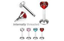 4 lot INTERNALLY THREAD Heart Gem MONROE /LABRET LIP CHIN Rings Piercing Jewelry