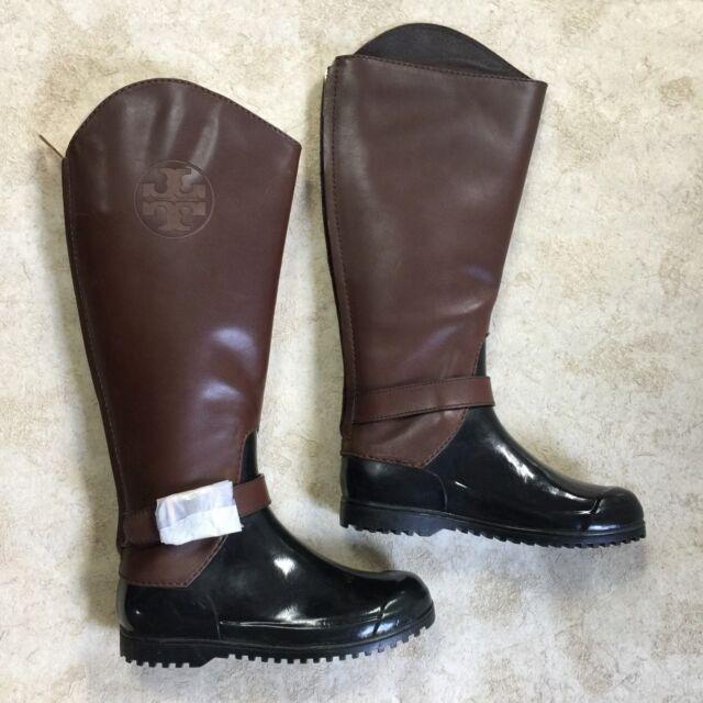 2d5f27bf646 NEW Tory Burch Diana Rainboots Green Brown Logo Cuffs Rain Boots ...