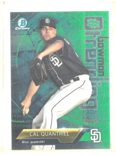 Cal-Quantrill-RC-2018-Bowman-Chrome-Green-MOJO-Refractor-Rookie-28-99-Padres-RC