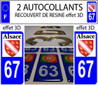 2 stickers plaque immatriculation auto TUNING DOMING 3D RESINE REGION ALSACE 67