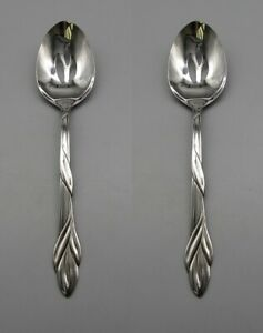 SET-OF-TWO-Oneida-Stainless-Flatware-EDEN-Slotted-Serving-Spoons-USA