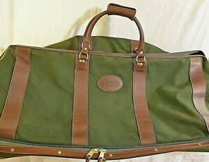 Orvis-X-Large-Rolling-Wheeled-Duffel-Luggage-Bag-Canvas-Leather-Hunting-Green