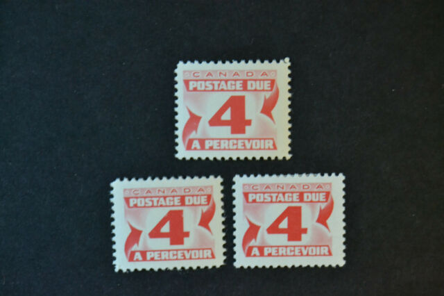 Mint QEII Stamp Canada 1967/1969/1977 Postage Due Percevoir Red Numeral Variety