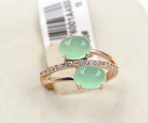 Wedding-Engagement-Ice-Emerald-Green-Rose-Gold-simulated-diamond-Ring-size-8