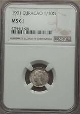 1901 Curacao 1/10 Gulden, NGC MS 61