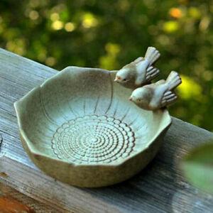 Ceramic Birth Baths Garden Decor Birth Feeder Aquarium Retro Finish Bird Fee-qk