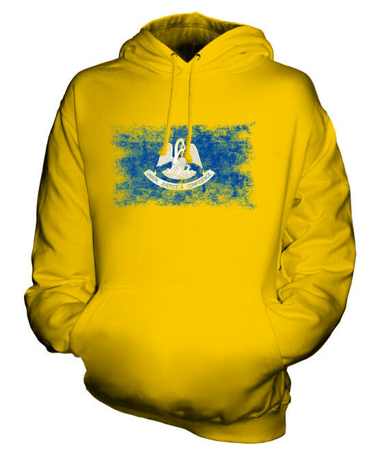 LOUISIANA STATE DISTRESSED FLAG UNISEX HOODIE TOP LOUISIANAN  JERSEY GIFT