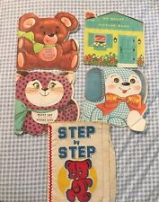 Lot of 5 Vintage Children's Picture Books Fabric Cloth Cat Bear Dog House