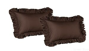 2-Piece-King-Size-Ruffled-Shams-Solid-Brown-Cover-Case-Decorative-Pillow