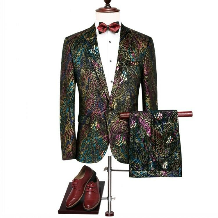 Mens Formal Dress 2 Pics Coats Pants One Button Animal Printing Prom Singer wear