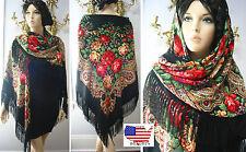 """Russian Ukrainian Gypsy Shawl Floral w/Fringes 154cm/61"""" Wool Black br142-3 Huge"""