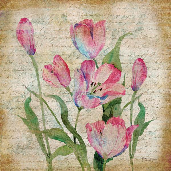 Paul Brent  Poetic Garden II Keilrahmen-Bild Leinwand Tulpe Blaumen Poesie Garten