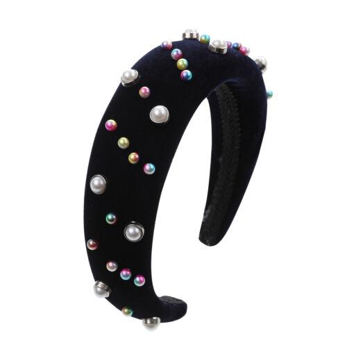 Women/'s Padded Headband Velvet Crown Pearl Wedding Hairband Hair Accessories