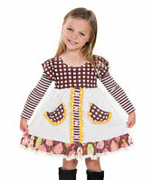 Jelly The Pug Brown & Yellow Into The Woods Bella Dress - Girls 2t, 5, 6, 10