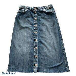 125-LAUREN-Ralph-Lauren-Women-s-Sz-6-Blue-Denim-Skirt-Midi-Buttons-Jean-Skirt