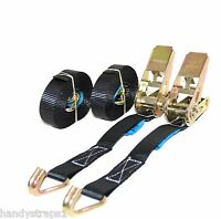 2 x 25mm Black 5 Meter 800kg Ratchets Tie Down Straps Lorry Lashing Trailer