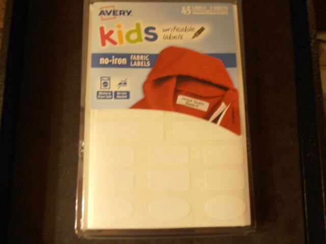avery no iron clothing labels 45 per package white assorted sizes ebay