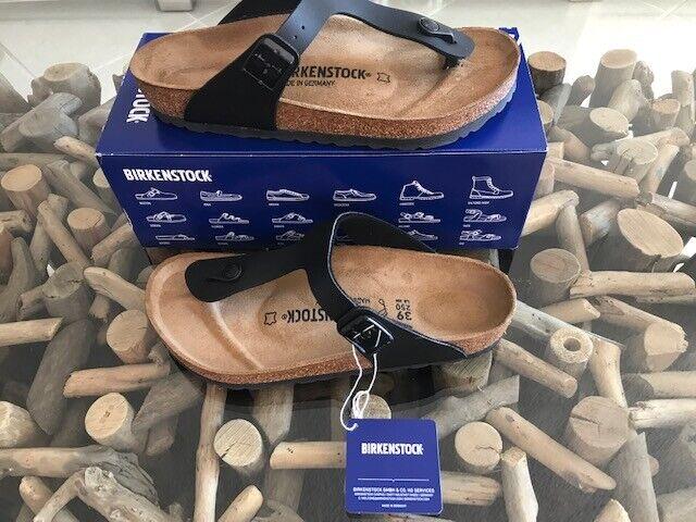 BIRKENSTOCK Gizeh BS Birko-Flor Black Sandals Size 38 $100 NEW