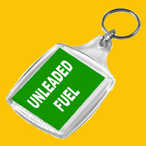 Personal-Fuel-Reminder-Keyring-For-UNLEADED-Fuel-Green-with-White-Text