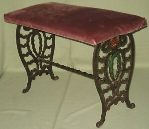 Vintage Decorative Wrought Iron Vanity Piano Bench Art