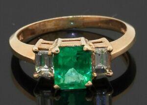 14K gold elegant 1.25CTW diamond & 6.3 X 5.2mm emerald cocktail ring size 5
