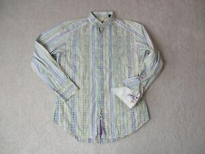 Robert-Graham-Button-Up-Shirt-Adult-Medium-Green-Purple-Striped-Flip-Cuff-Mens