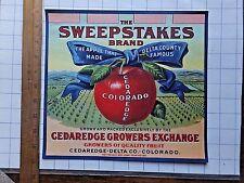 BEAUTIFUL ca.1910's Sweepstakes Brand Apple Crate Label. Cedar Edge, Colorado