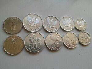 INDONESIA SET 13 COINS 25 50 100 200 500 1000 RUPIAH 1970 1999 2010 2016 UNC
