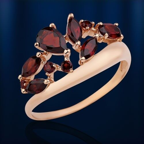 Russian solid pink gold 585  14ct garnet,  Ring NWT Beautiful
