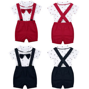 2Pcs-Baby-Boys-T-Shirt-Romper-Tops-Bib-Pants-Overalls-with-Bow-tie-Party-Outfits