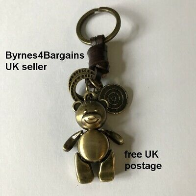 Key Ring Key Fob Teddy Bear Leather/metal Handbag Accessory Ideal Gift Uk Seller Colori Armoniosi