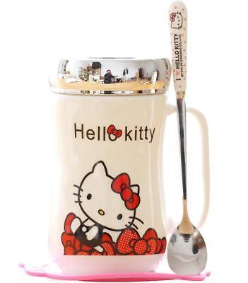 Spoon and Coaster 500ML. Hello Kitty Cute Ceramic Coffee Mug comes With Top
