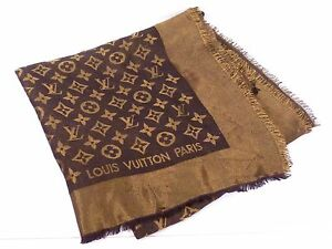 100-Auth-Louis-Vuitton-Monogram-Muffler-Shawl-Stole-Silk-Metal-Brown-N493