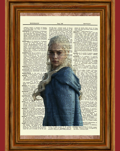 Daenerys Game of Thrones Dictionary Art Print Picture Gift Mother Dragons