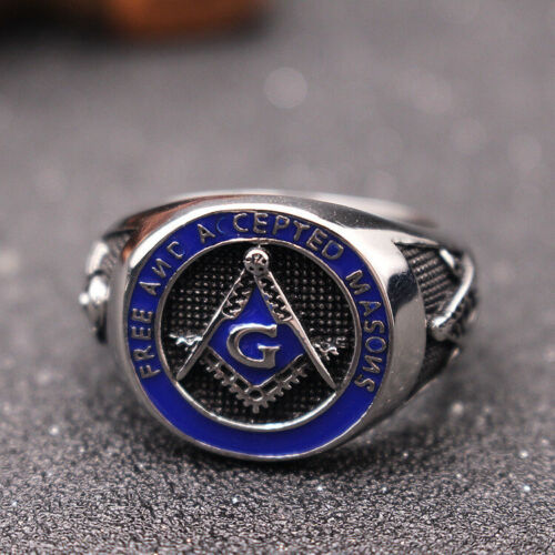 Details about  /Gothic Men/'s Masonic Ring Free And Accepted Masons Stainless Steel Ring Biker
