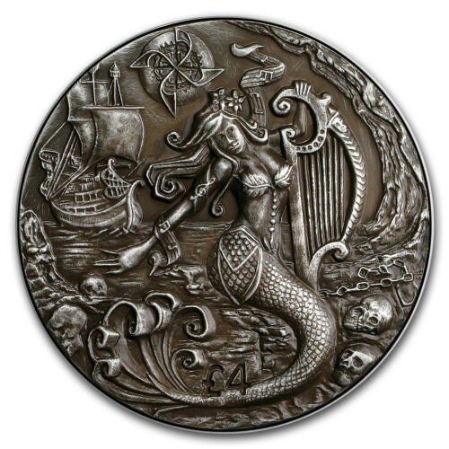2018 BIOT 2 oz Silver £4 Antique High Relief Siren SKU#168579