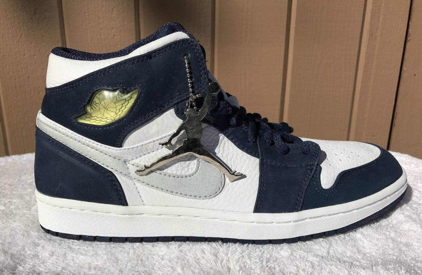 2001 Nike Air Jordan Retro 1 + White Silver Navy 10.5 Deadstock 136065-101