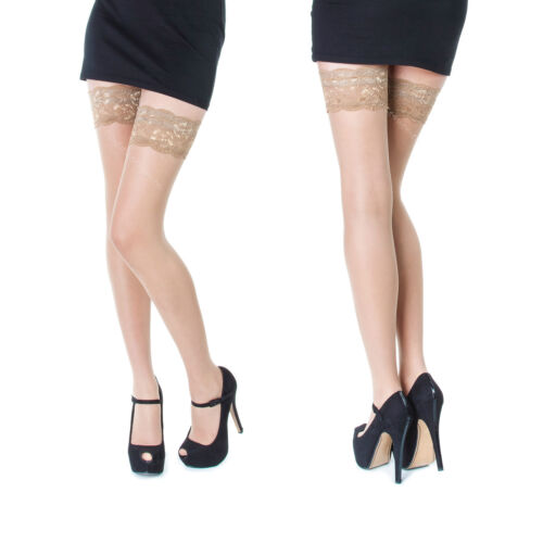 "9 cm Deep Sensuous Sheer Lace Top Hold-ups 20 Denier Sentelegri-/""SOPHIE/"""