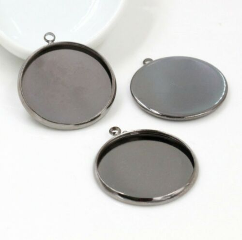 5pcs 25mm Charm Round Smooth Plain Pendant Base Setting Cabochon Pendant Trays
