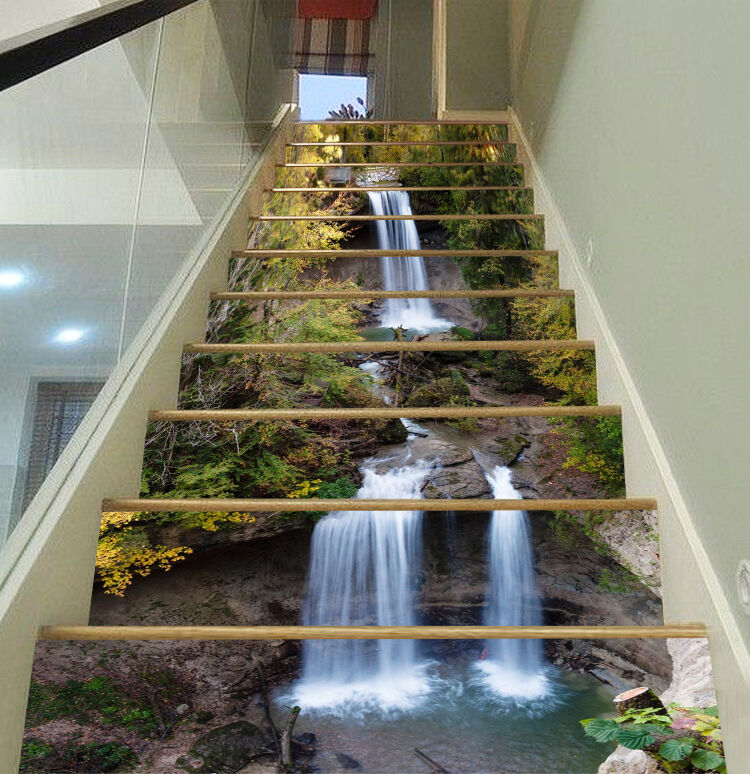 3D Fließt Wasserfal Stair Risers Dekoration Fototapete Vinyl Aufkleber Tapete DE