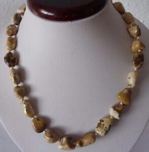 Edelstein-Kette-aus-Jaspis-Perlen-Barockkette-Laenge-ca-48cm-Nr-1