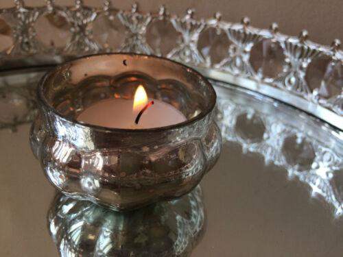 Antique Style Glass /& Metal Vintage Tea Light Candle Holder Wedding Decoration
