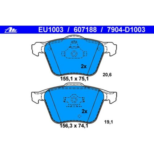For Volvo XC90 2003-2014 Front Disc Brake Pad Set for 336 mm Brake Disc ATE