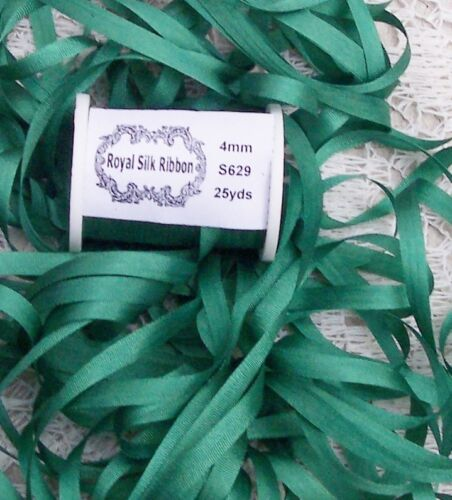 """100/%PURE SILK EMBROIDERY RIBBON 1//8/"""" WIDE 25 YARDS~ EMERALD~ COLOR 4MM"""