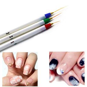 3Pcs/Set Acrylic French NailArt Pen Brush Painting Drawing Liner ...