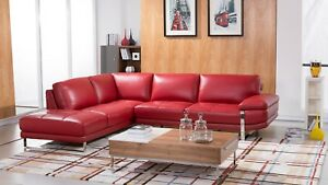 Details about 2 PC Modern Red Italian Top Grain Leather Sectional Sofa  Chaise Livingroom Set