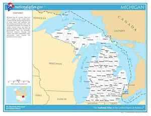 Michigan Map With Counties And Cities.Details About Michigan State Counties W Cities Laminated Wall Map
