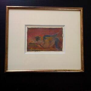 Rare nu tableau Serge Kantorowicz huile sur toile signée curiosa encadré