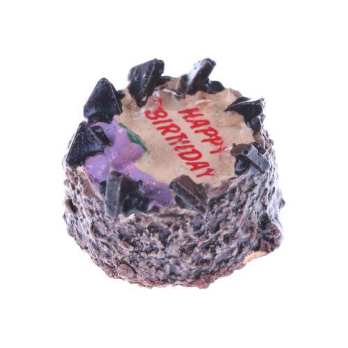 1:12 Dollhouse Miniatures Chocolate Cake for Doll Birthday Cake Shop Decor ueUS